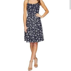 Navy and White Floral Eyelet Dress by Maggy London
